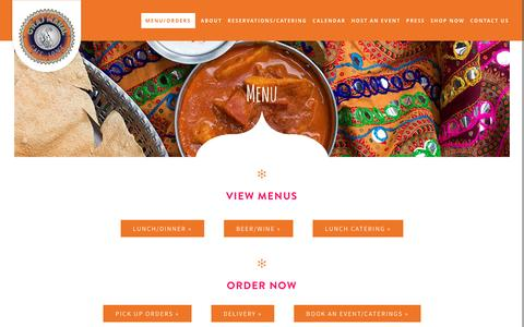 Screenshot of Menu Page grajmahalaustin.com - Menu - G'Raj Mahal Cafe & Lounge - captured Dec. 28, 2016