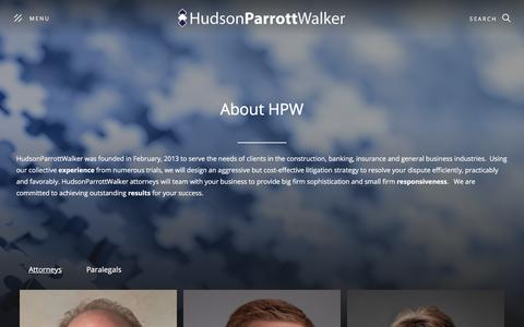 Screenshot of About Page hpwlegal.com - About HudsonParrottWalker, LLC | Construction Law | Commercial Litigation | General Liability | Banking Law |  Employment Law | Atlanta Law Firm - captured July 1, 2019