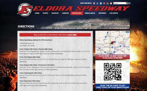 Screenshot of Maps & Directions Page eldoraspeedway.com - Directions - captured Sept. 19, 2014