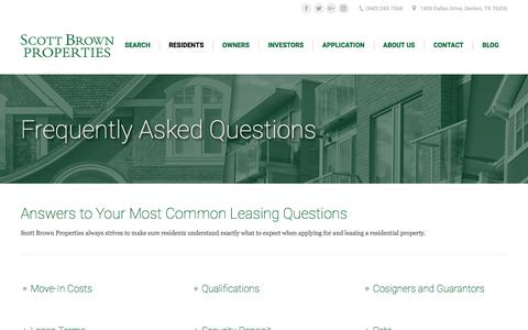 Screenshot of FAQ Page scottbrownproperties.net - FAQs - Scott Brown Properties - captured July 28, 2018