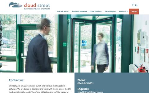 Screenshot of Contact Page cloudstreet.co.uk - Contact Us | Cloud Street | Bespoke Business Software Architects - captured Sept. 28, 2018