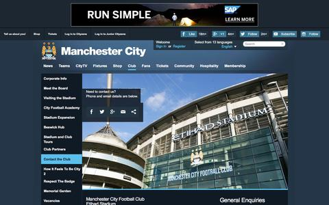 Screenshot of Contact Page mcfc.co.uk - Business directory - The Club - Manchester City FC - captured Oct. 25, 2015