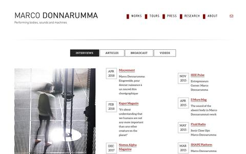 Screenshot of Press Page marcodonnarumma.com - Marco Donnarumma |   Interviews - captured Oct. 16, 2018