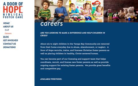 Screenshot of Jobs Page adoorofhope.com - Careers - A Door of Hope : A Door of Hope - captured May 1, 2017