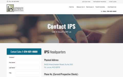 Screenshot of Contact Page ipsonline.net - Contact IPS - IPS Integrated Payroll Services - captured Jan. 17, 2018