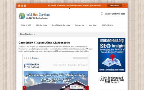 Screenshot of Case Studies Page holstwebservices.com - Case Studies | Holst Web ServicesHolst Web Services - captured Sept. 26, 2014