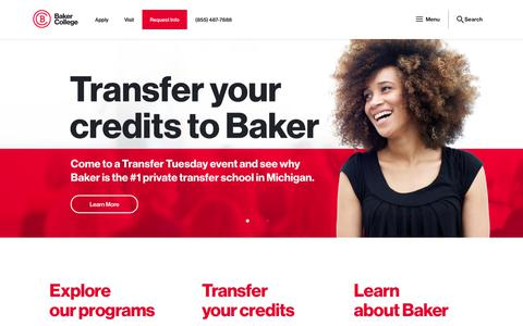 Screenshot of Home Page baker.edu - Baker College - Undergraduate & Graduate Degrees Online & in Michigan - captured July 13, 2019