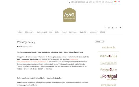 Screenshot of Privacy Page amr.pt - Privacy Policy - AMR - captured Nov. 12, 2018