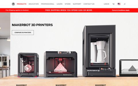 Screenshot of Products Page makerbot.com - Desktop 3D Printers - Compare Desktop 3D Printers - 3D Printing - captured Aug. 6, 2018
