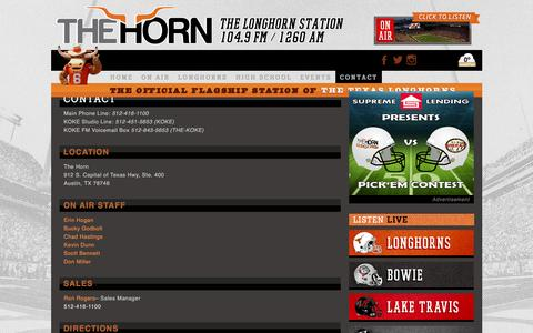 Screenshot of Contact Page hornfm.com - Contact - The Horn  The Horn - captured Dec. 6, 2015