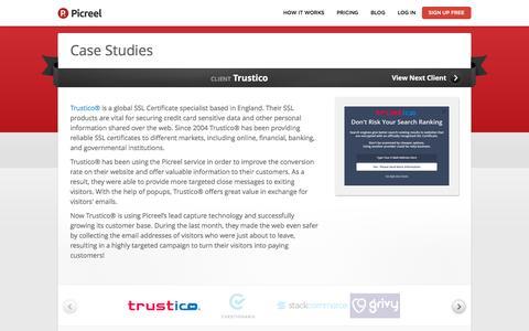 Screenshot of Case Studies Page picreel.com - Case Studies | Picreel.com - captured Sept. 8, 2016