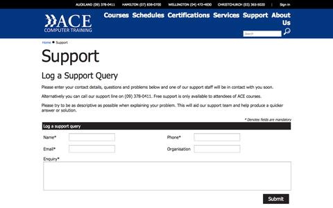 Screenshot of Support Page ace.co.nz - ACE Training - Support - captured Oct. 4, 2014