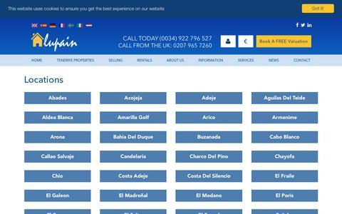 Screenshot of Locations Page lupain.com - Locations    Estate Agents In Tenerife - Lupain Estate Agents - captured Jan. 28, 2017