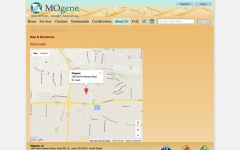 Screenshot of Maps & Directions Page mogene.com - Map & Directions - captured Feb. 21, 2016