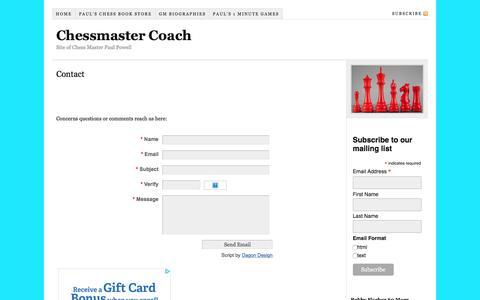 Screenshot of Contact Page chessmastercoach.com - Contact - captured Feb. 20, 2018