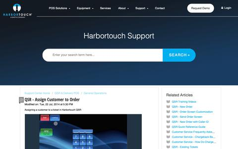 Screenshot of Support Page harbortouch.com - QSR - Assign Customer to Order : Harbortouch Support Center - captured Oct. 9, 2018
