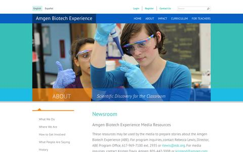 Screenshot of Press Page amgenbiotechexperience.com - Newsroom | Amgen Biotech Experience - captured Sept. 13, 2014