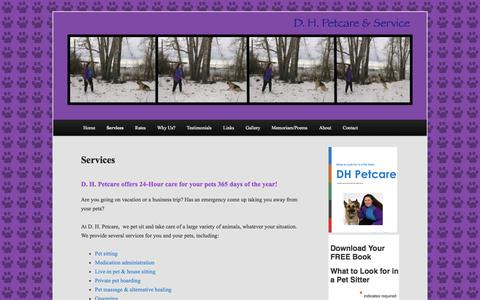 Screenshot of Services Page dhpetcare.com - Services | A Calgary Pet Sitting company with credentials and medical training. - captured Oct. 4, 2014
