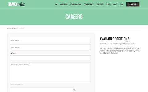 Screenshot of Jobs Page radmkt.com - Careers - RAD MKT - captured Feb. 17, 2016