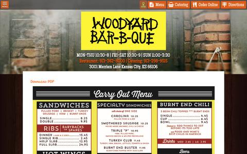 Screenshot of Menu Page woodyardbbq.com - Woodyard BBQ | Menu - captured Oct. 18, 2018