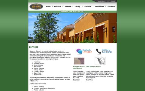 Screenshot of Services Page spectrumstucco.ca - Spectrum Stucco Inc  - Stucco Services Hamilton - captured Oct. 3, 2014