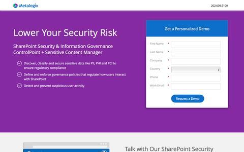 Screenshot of Landing Page metalogix.com - SharePoint Security | Metalogix Demo - captured May 28, 2017