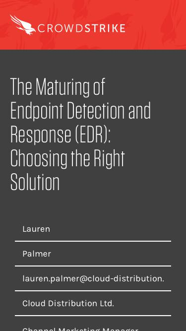 CrowdCast | The Maturing of Endpoint Detection and Response (EDR): Choosing the Right Solution