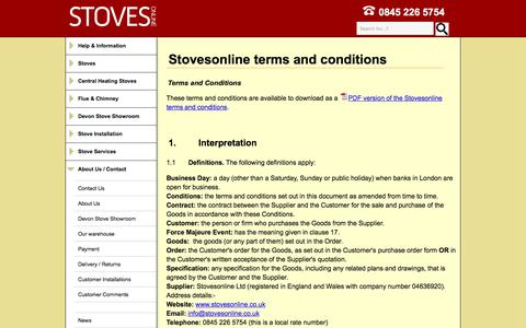Screenshot of Terms Page stovesonline.co.uk - Stovesonline terms and conditions - captured Sept. 21, 2018