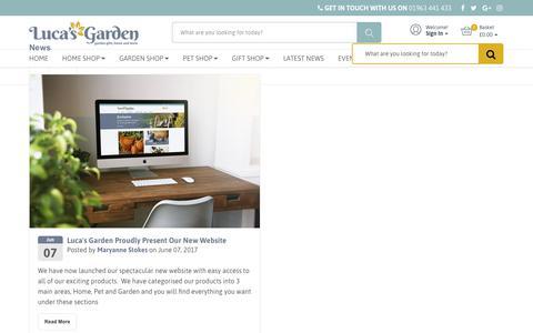 Screenshot of Press Page lucasgarden.com - News – Luca Designs Ltd - captured July 22, 2018