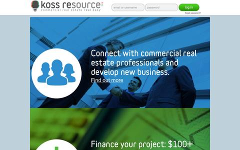 Screenshot of Home Page kossresource.com - Koss REsource | Commercial Real Estate Real Easy - captured Jan. 28, 2015