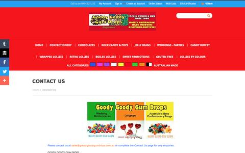 Screenshot of Contact Page goodygoodygumdrops.com.au - Contact Us - captured May 24, 2016