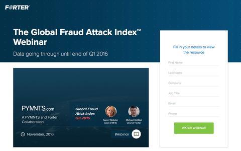Screenshot of Landing Page forter.com - The Global Fraud Attack Index™ Webinar - captured Jan. 3, 2017
