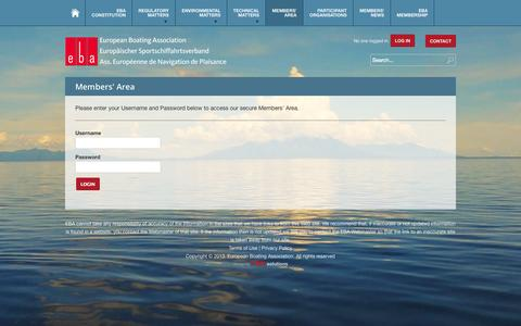 Screenshot of Login Page eba.eu.com - European Boating Association - captured Oct. 3, 2014