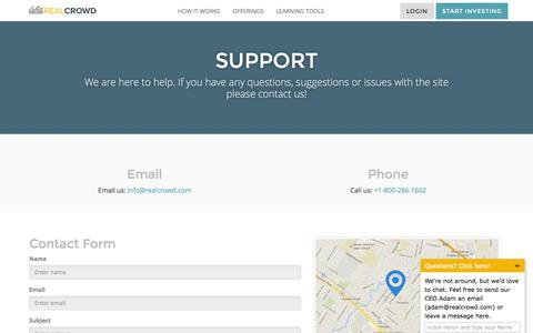 Screenshot of Support Page realcrowd.com - RealCrowd Support - captured Nov. 3, 2015