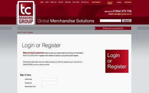 Screenshot of Login Page tc-group.co.uk - Login or Register | TC Branding Group - captured Jan. 10, 2016