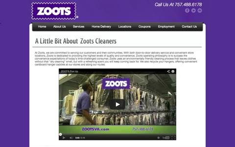 Screenshot of About Page zootsva.com - Zoots Dry Cleaning About Us | Zoots Cleaners Virginia - captured Oct. 1, 2014