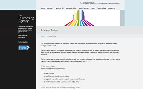 Screenshot of Privacy Page thepurchasingagency.com - The Purchasing Agency - privacy - captured Oct. 9, 2014