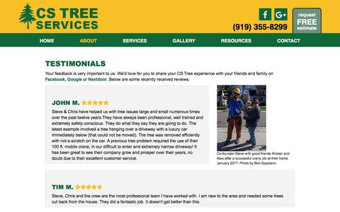 Screenshot of Testimonials Page cstreeservices.com - CS Tree Services, Inc. | Raleigh, NC | Tree Removal - captured Sept. 25, 2018