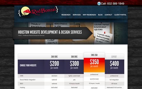 Screenshot of Services Page redbonzai.com - Houston Website Development & Design Services $200/Month & Up | RedBonzai - captured Oct. 9, 2014