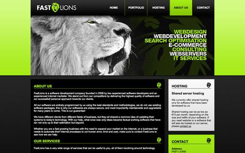 Screenshot of About Page fastlions.nl - FastLions - Web development & Custom Software - captured Sept. 30, 2014