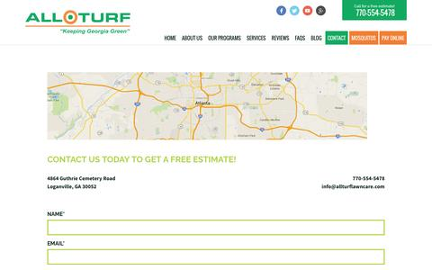 Screenshot of Contact Page allturflawncare.com - Contact Us Today | All Turf - captured Nov. 20, 2016