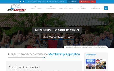 Screenshot of Signup Page ozarkchamber.com - Member - Membership Application – Ozark Chamber of Commerce - captured Nov. 30, 2016
