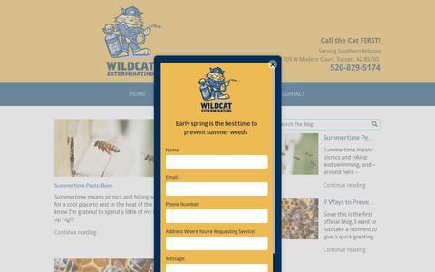 Screenshot of Blog wildcatexterminating.com - Wildcat Exterminating Blog | Tucson, AZ - captured Nov. 16, 2017