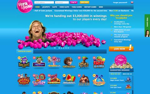 Screenshot of Home Page verajohn.com - Play casino online at Vera&John - An online casino | Vera&John - captured Jan. 22, 2015