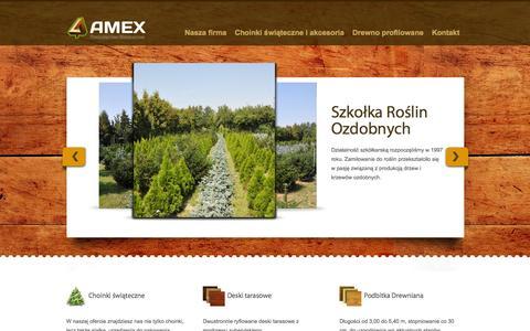 Screenshot of Home Page amex.net.pl - AMEX - podbitka drewniana, choinki i akcesoria świąteczne - captured Oct. 12, 2015