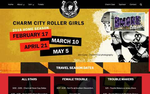 Screenshot of Home Page charmcityrollergirls.com - Charm City Roller Girls – Baltimore's Only Women's Flat Track Roller Derby League - captured Sept. 27, 2018