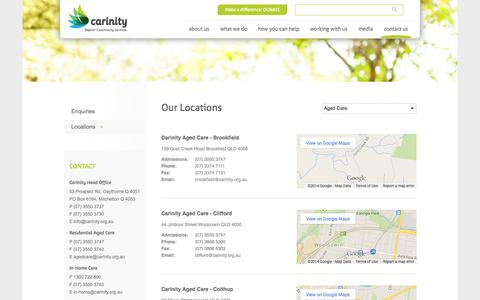Screenshot of Contact Page Locations Page carinity.org.au - Our Locations | Carinity - captured Oct. 22, 2014
