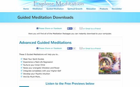Screenshot of Products Page exploremeditation.com - Guided Meditation Downloads | Explore Meditation - captured Nov. 3, 2014