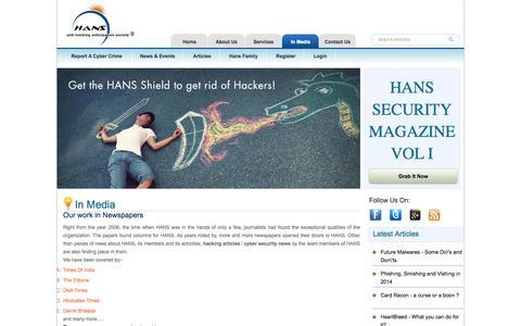 Screenshot of Press Page indianhans.org - Anti Hacking News - captured Oct. 1, 2014
