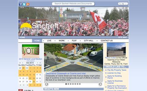 Screenshot of Home Page sechelt.ca - District of Sechelt - captured Oct. 5, 2014